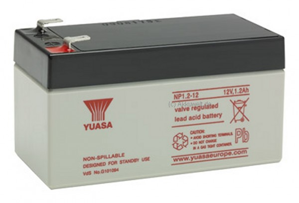 Bleigel-Akku für Yuasa NP1.2-12 Pb 12V / 1,2Ah
