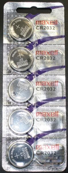 5er Maxell CR2032 CR-2032 Lithium Batterie