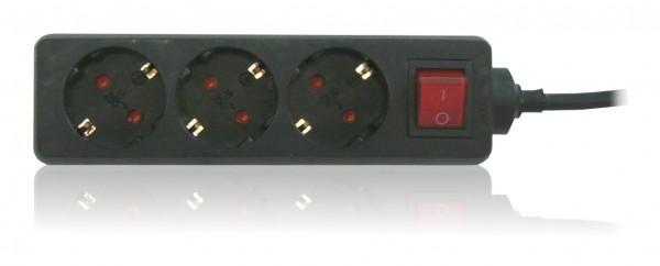 Steckdosenleiste 3x Schuko mit 3,0m Zuleitung und Schalter schwarz
