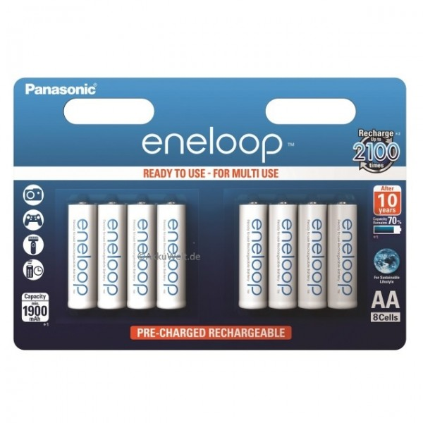 Panasonic Eneloop Mignon AA LR6 Ni-MH 1,2V 8er Blister