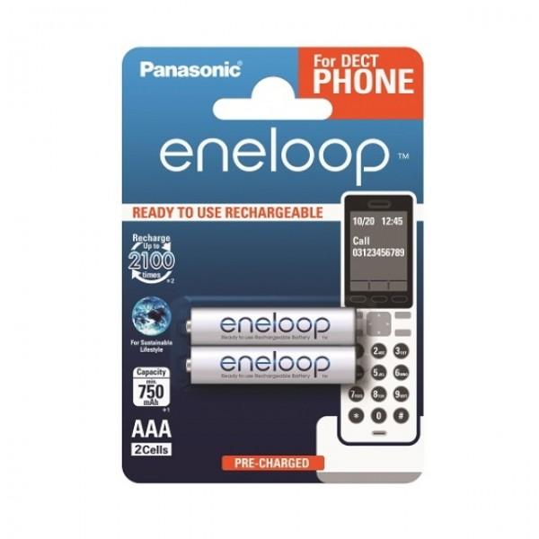 Panasonic Eneloop Micro AAA für Dect Telefone HR-4UTG 1,2V 2er Blister