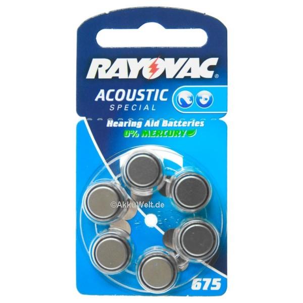 10x Varta Rayovac R675AE Hörgerätebatterie PR44