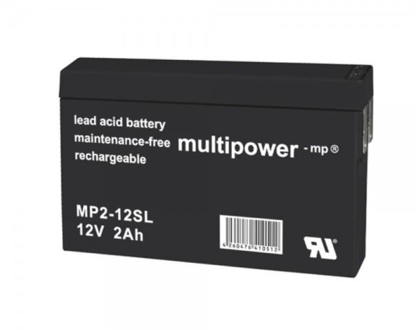 Multipower MP2-12SL MP2-12 SL Faston 4,8mm 12.0V 2,0Ah