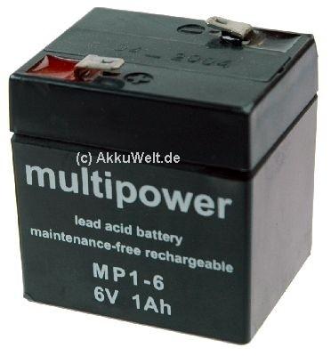 Multipower Blei Gel Akku MP1-6 6V 1Ah 1000mAh