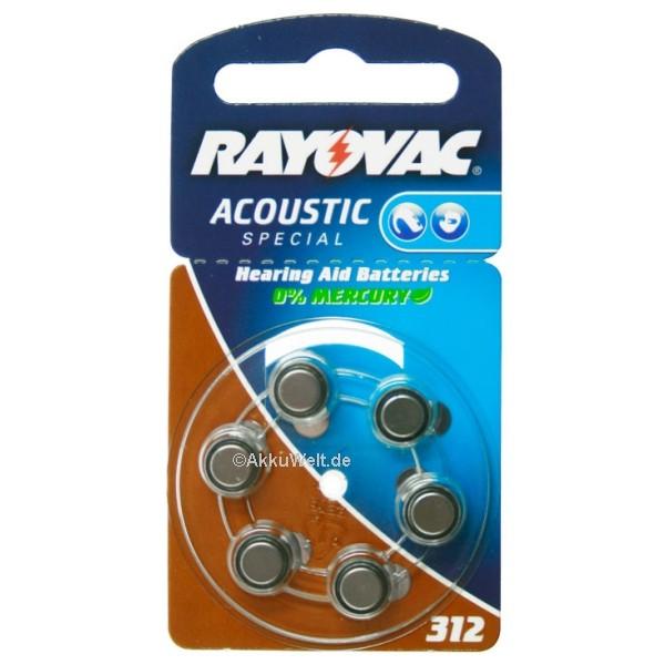 10x Varta Rayovac R312AE V312AT Hörgerätebatterie Typ 312 PR41
