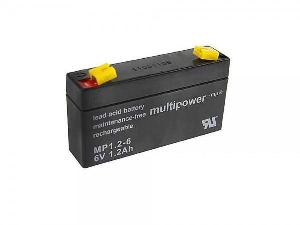 Multipower MP1.2-6 Notstrom-Akku für Außensirenen AS10F AS17F 6000AS Friedland HW10F SL3F SL5F HW7F